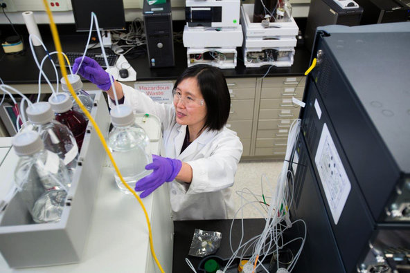 An Idenix research scientist at work. The market for hepatitis C drugs is expected to be lucrative.