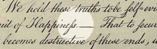 A clipping of the Declaration of Independence.