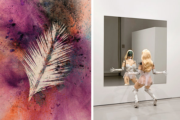 "From left: <strong>Sam Falls</strong> at Hannah Hoffman Gallery, ""Untitled (Venice, Palm 4),"" 2014. <strong>Jordan Wolfson</strong> at David Zwirner, ""(Female Figure),"" 2014."