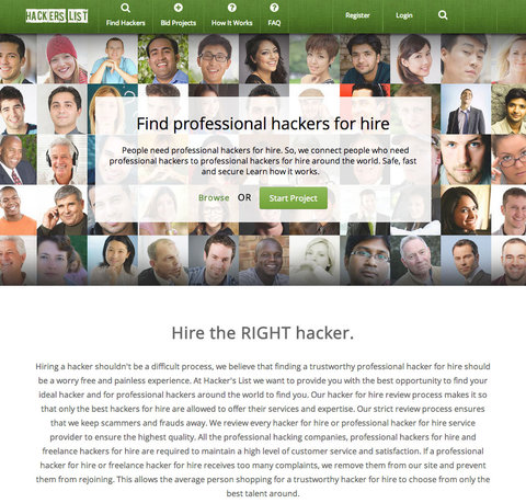 The home page of Hacker's List, a website that matches hackers with people looking for someone to delete embarrassing photos or retrieve a password.