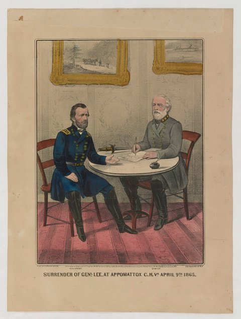 Gen. Robert E. Lee surrendering to Lt. Gen. Ulysses S. Grant at Appomattox Courthouse, April 9, 1865.