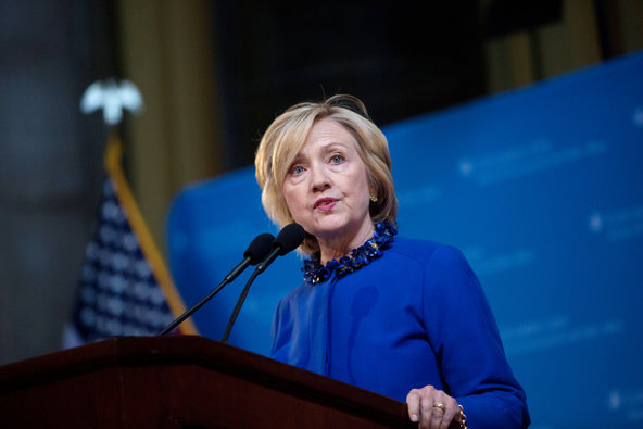 Hillary Rodham Clinton spoke at Columbia University last week.