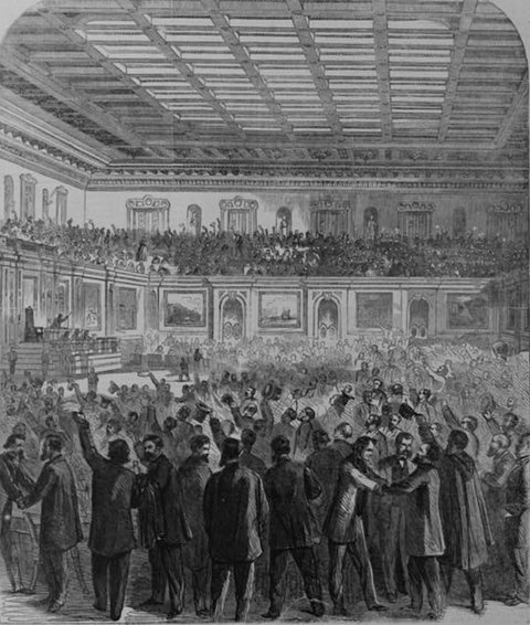 An image from Harper's Weekly showing the House of Representatives during the passage of the 13th Amendment, Jan. 31, 1865.