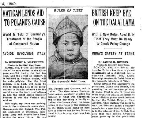 The first image of the 14th Dalai Lama to appear in The New York Times in 1940.