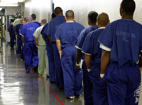 Inmates at Men's Central Jail in downtown Los Angeles.