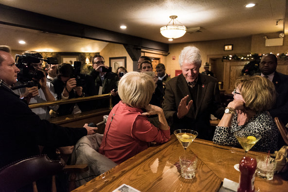 Former President Bill Clinton greeted diners at the Puritan Backroom in Manchester, N.H., on Monday.