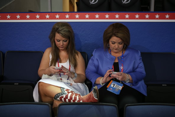 Amy Kremer and her daughter Kylie Jane Kremer waited for the opening gavel on the first day of the Republican National Convention at the Tampa Bay Times Forum in Tampa, Fla., on Aug. 27, 2012.