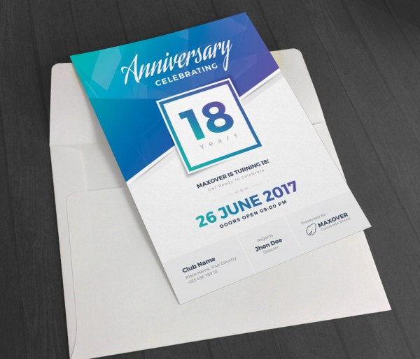 Apollo Elegant Anniversary Invitation Template