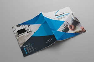 Bright Idea Corporate Square Bi-Fold Brochure Template