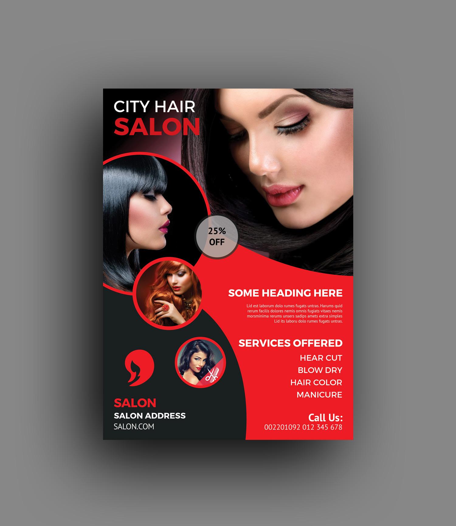Hair Style Template: Hair Salon Flyer Templates