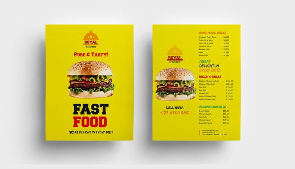 Fast Food Restaurant Menu Template