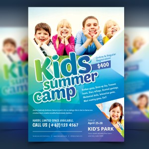 Stylish Kids Camp Party Flyer Template
