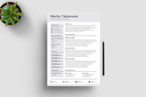 Grey CV Design Template