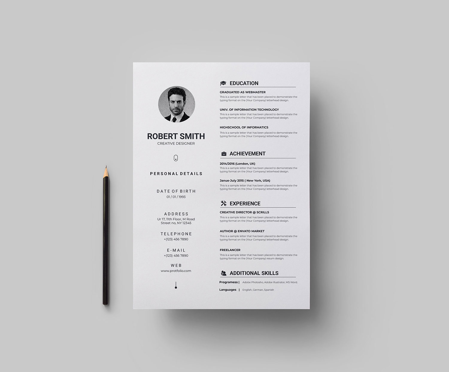 Simple Vector Resume Template Graphic Templates