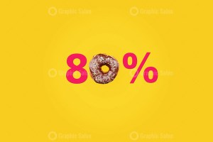 Eighty percent made with number and donut