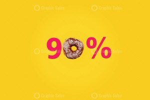 Ninety percent made with number and donut