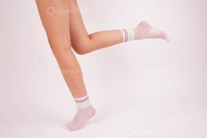 Rainbow white nylon socks stock photo