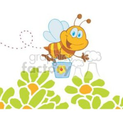 Cartoon Character Bee Flying Bucket In The Garden clipart Commercial use GIF JPG PNG EPS SVG clipart # 379595 Graphics Factory