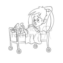 child sick in hospital bed black white clipart Commercial use GIF JPG PNG EPS SVG AI PDF clipart # 393508 Graphics Factory
