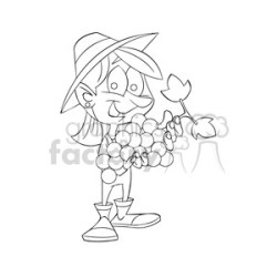 girl holding huge bundle of grapes outline clipart Commercial use GIF JPG PNG EPS SVG AI PDF clipart # 394229 Graphics Factory