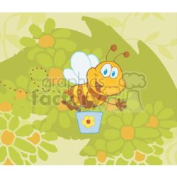 Cartoon Character Bee Flying Bucket In The Garden clipart Commercial use GIF JPG PNG EPS SVG clipart # 379564 Graphics Factory