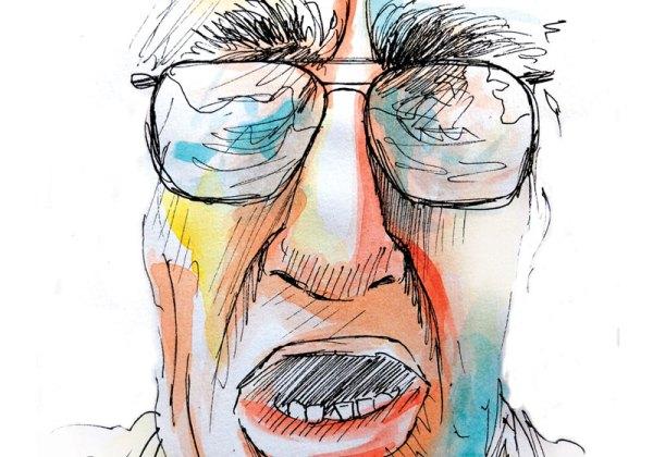 portrait homme expressif à lunettes couleurs aquarelle encre de chine