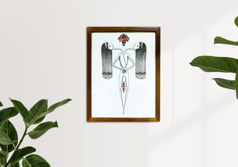 tableau feminin sacre symetrie et symboles ethniques