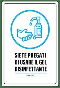 cartello lavarsi le mani gel sol.1
