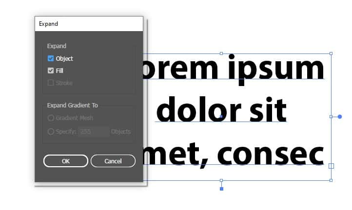 How to expand text in adobe illustrator