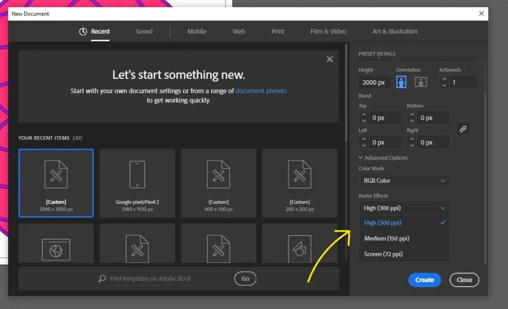 new document settings illustrator