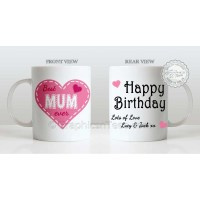 Mugs : Best Mum Ever Quote in Heart Design, Personalised ...