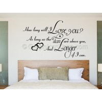 Bedroom Wall Sticker, How Long Will I Love You, Romantic ...