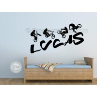 bedroom wall stickers for boys personalised bmx bike wall ...