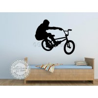 BMX Bike Stunt Rider Wall Sticker, Boys Girls Bedroom Wall