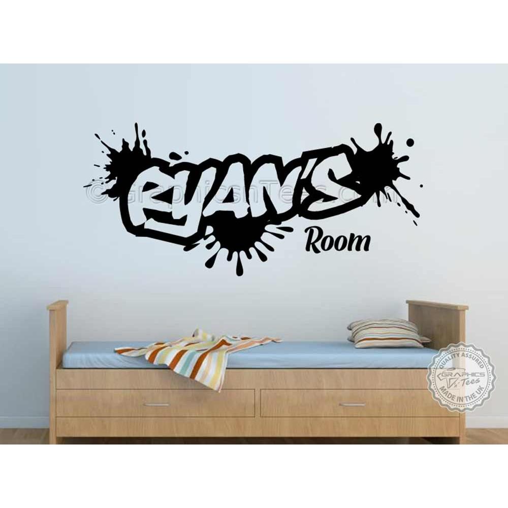 Personalised Graffiti Wall Stickers, Boy Girls Bedroom