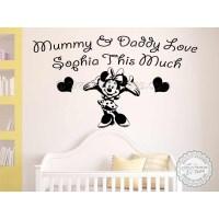 Personalised Nursery Wall Sticker, Minnie Mouse Bedroom ...