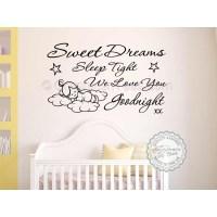 Sweet Dreams Sleep Tight Wall Art Sticker, Baby Boy Girl ...