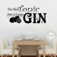 Funny Kitchen Wall Stickers Best Tonic Large Gin in it