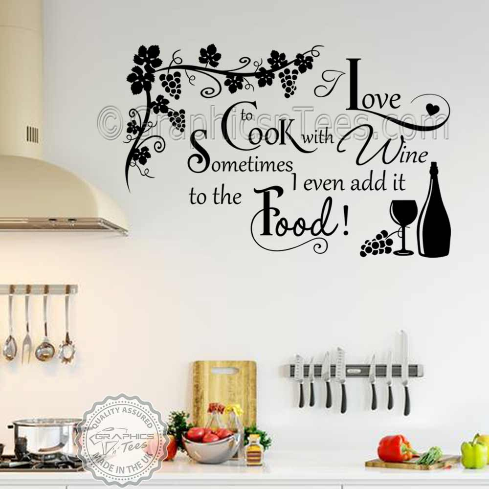 Cook With Wine Kitchen Wall Sticker Funny Kitchen Cooking