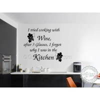I Tried Cooking with Wine, Kitchen Dining Room Wall Art ...