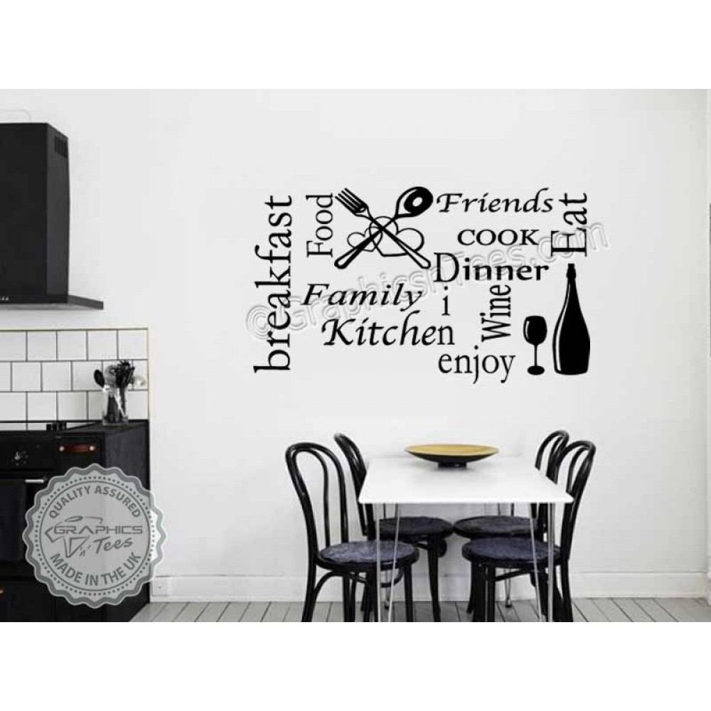 art for kitchen wall tall table sticker quote collage word montage decor decal