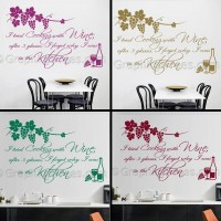 Kitchen Wall Sticker Quote, Tried Cooking with Wine, Cook ...