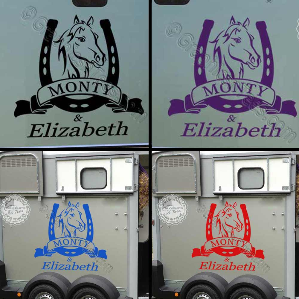 Personalised Horse Box Stickers Horse Trailer Vinyl Graphic Decals With Horse