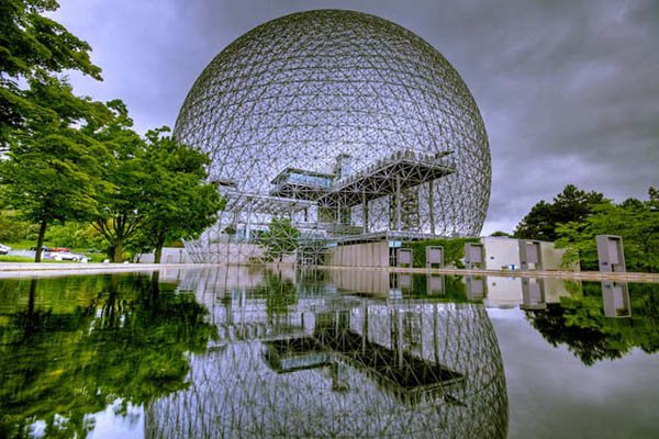 HDR from 3 exposures (-2,0,+2). Buckminster Fuller designed the Biosphere for the 1967 World Expedition. Biosphere aerial geodesic dome , St Helen's Island, Montreal, Quebec Canada, North America