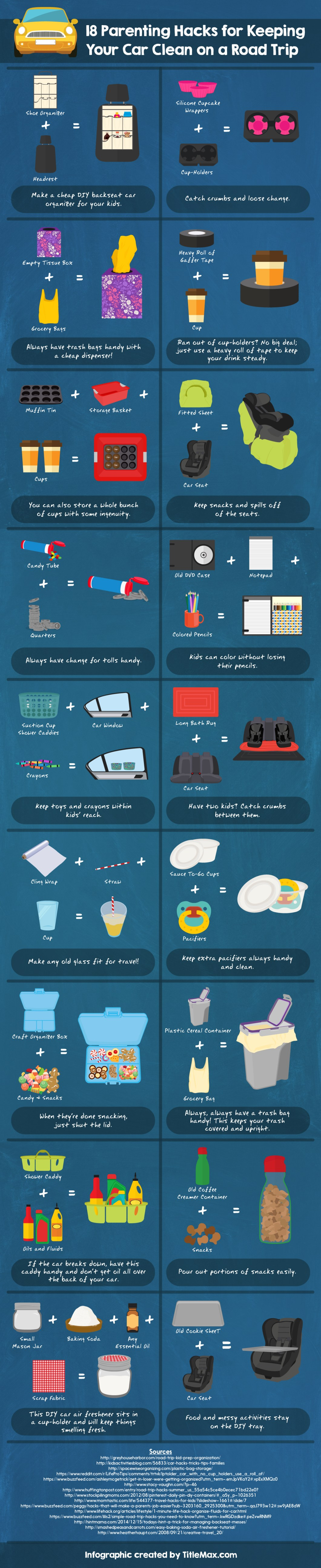 18 Road Trip Hacks For Your Car - Infographic