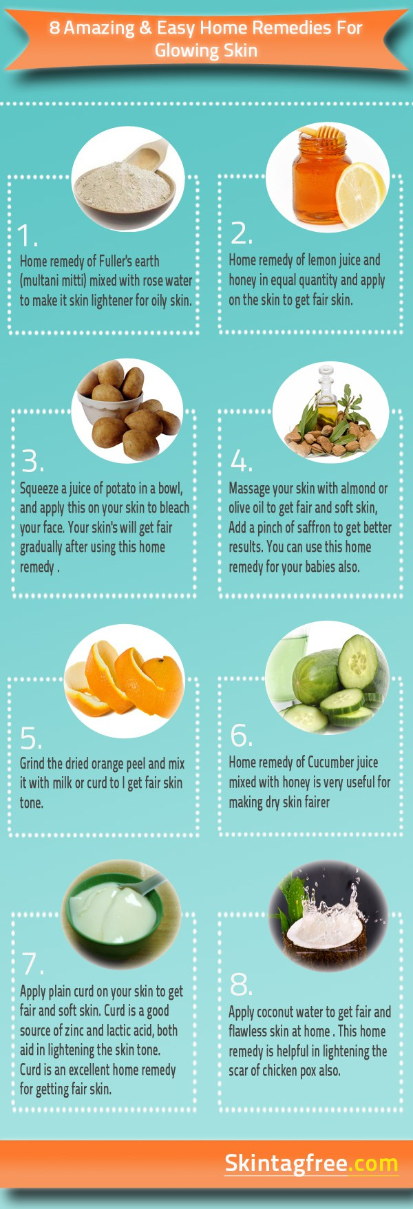 How To Get Glowing Skin - Easy Home Remedies - Infographics