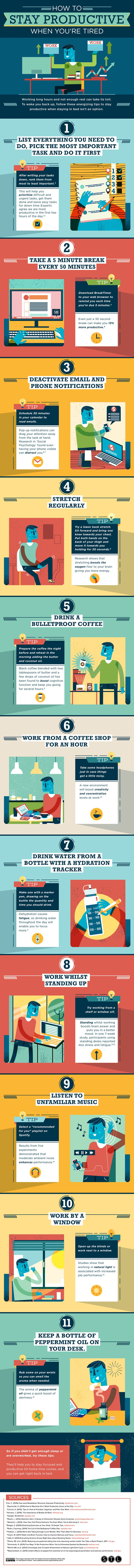 A Guide To Being Productive Even While You're Tired - Infographic