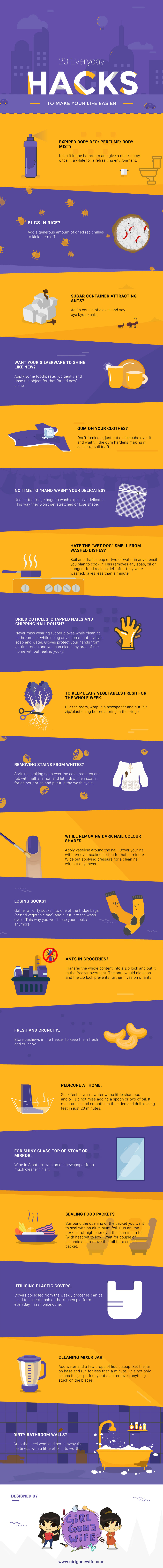 Life Changing Hacks For Your Everyday Life - Infographic