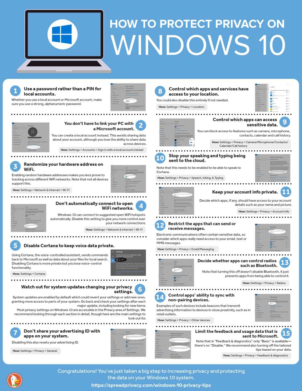 15 Ways to Protect Your Privacy on Window 10 - Infographic