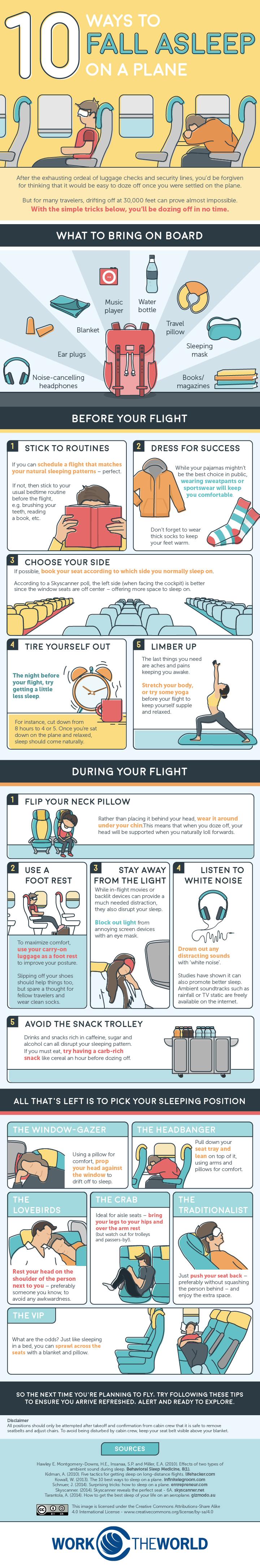 10 Methods to Help You Sleep Comfortably on a Plane - Infographic